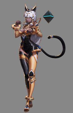 ArtStation - 2018 DNF Bastet, beige 86 - Orks, Goblins, Elves and more - Bikini Mode Fantasy Character Design, Character Design Inspiration, Character Concept, Character Art, Concept Art, Fantasy Girl, Anime Art Fantasy, Dark Fantasy, Fantasy Characters
