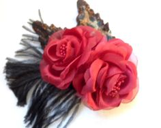 Red Rose with Black and Leopard Flower Hair Clip ** Check out this great product. (This is an affiliate link and I receive a commission for the sales)