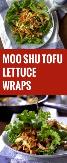 Moo Shu Tofu Lettuce Wraps - switch out a few ingreds, and voila! Tofu Recipes, Delicious Vegan Recipes, Lunch Recipes, Asian Recipes, Whole Food Recipes, Healthy Recipes, Vegetarian Entrees, Vegan Dinners, Tofu Meals