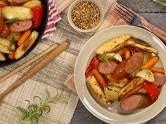 Roasted Red Pepper Potatoes and Sausage