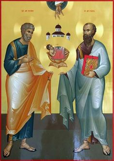The Holy, Glorious and Illustrious Apostles Peter & Paul. 29 (preceded by Petrivka). Religious Icons, Religious Art, Thessaloniki, St Peter And Paul, Lives Of The Saints, Church Icon, Roman Church, Russian Icons, Byzantine Icons