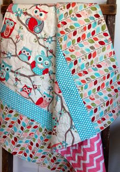 Baby Girl Quilt, Modern, Nested Owls on Branches-Coral, Aqua, Teal, Red, Pink, Adornit Fabric, Baby Bedding, Crib Quilt, Nursery on Etsy, $105.00