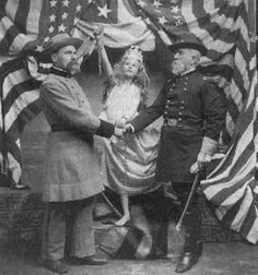 "In regards to the Spanish American war over Cuba. This photo was taken ca. ""Cuba Libre"", [Union and confederate soldiers shaking hands in front of young female personification of Cuba with broken shackles], F. The Spanish American War, American Civil War, American History, American Flag, Spanish War, Antique Photos, Vintage Photographs, Old Photos, Vintage Photos"