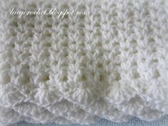 Lacy Crochet: V-Stitch Baby Afghan with Scalloped Trim Free Pattern