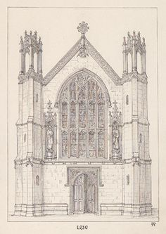 Pugin's ideal Gothic Revival chapel uses pointed arches and stained glass windows
