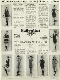 "1922 One piece bathing suits for Flappers, Misses and Swimmers ""The Stanley W. Blum Co."""