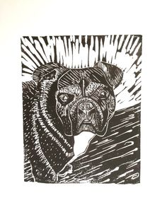 Stella! An adorable French bulldog, captured in a linocut print.