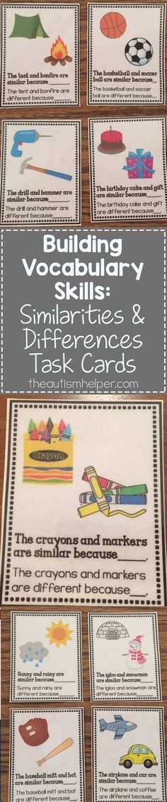 Use our Similarities & Differences task cards to help students work on the important skill of compare & contrast! From theautismhelper.com #theautismhelper