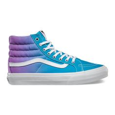 Ombre Sk8-Hi Slim ($60) ❤ liked on Polyvore featuring shoes, sneakers, vans, laced up shoes, vans shoes, cushioned shoes, vans sneakers et vans trainers