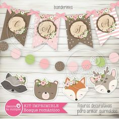 Kit imprimible personalizado animales del bosque romántico Woodland Theme, Woodland Baby, Woodland Animals, Wild One Birthday Party, 1st Birthday Girls, Party In A Box, Party Kit, Gateau Baby Shower, Fox Party