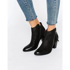 Dune Polly Mid Heel Ankle Boot (€87) ❤ liked on Polyvore featuring shoes, boots, ankle booties, black, leather ankle boots, black bootie, black ankle boots, leather boots and leather bootie