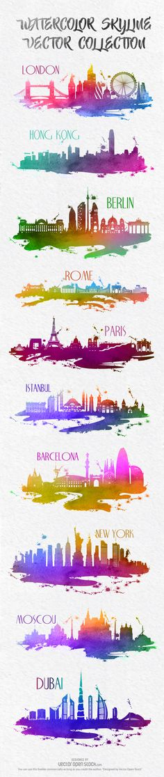 #skylines #skyline #watercolor #cities #city #resources #vector #images #graphics #design #graphic #London #Rome #HongKong #Berlin #Istambul #Barcelona #NewYork #Paris #Moscou #Dubai