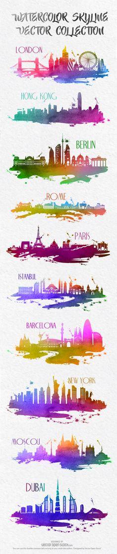#skylines #skyline #watercolor #cities #city #resources #vector #images #graphics #design #graphic #London #Rome #HongKong #Berlin #Istambul #Barcelona #NewYork #Paris #Moscou #Dubai