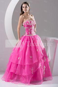 Watermelon Floor-Length Lace/Satin/Organza Sweetheart Prom Dress