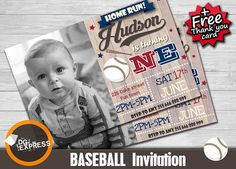 "Baseball Invitation - ""Vintage BASEBALL BIRTHDAY Invitation"" First Birthday Invitation, Baseball Party Invite, Softball Sports Printable"