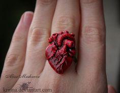 Human Heart ring from polymer clay by Krinna.deviantart.com on @deviantART