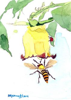 ACEO Limited Edition  Bell flower and bee in by annalee377 on Etsy
