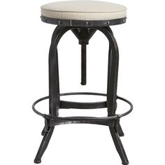Showcasing an adjustable metal frame and linen-upholstered seat, this industrial-chic barstool adds a stylish touch to your game room or kitchen counter.