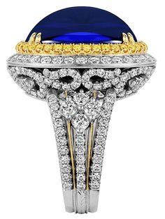 Rosamaria G Frangini | High DeepBlue Jewellery | Tanzanite and Yellow Diamond Ring