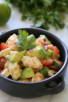 Zesty Lime Shrimp and Avocado Salad – a delicious, healthy salad made with shrimp, avocado, tomato, lime juice, jalapeno and cilantro. No cooking required. @skinnytaste