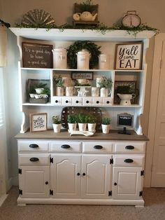 There are countless ways to design white kitchen cabinets using a variety of styles, materials, and alternating color pieces. This roundup of the . Bauernhaus Dekor 35 Fresh White Kitchen Cabinets Ideas to Brighten Your Space Country Farmhouse Decor, Farmhouse Kitchen Decor, Farmhouse China Cabinet, China Cabinet Decor, Modern Farmhouse, Country Kitchens, Farmhouse Ideas, Farm House Kitchen Ideas, Farmhouse Dining Rooms