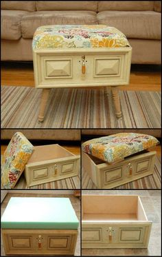 Old Drawer Converted Into Cushioned Coffee Table