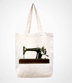 Vintage sewing machine handmade bag/canvas bag/tote by canvasanni, $11.90