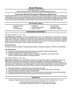 maintenance resume template free httptopresumeinfomaintenance resume - Maintenance Engineer Sample Resume