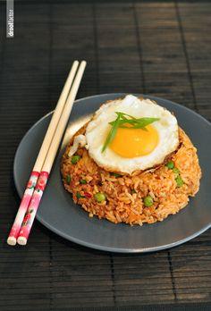 KimchiBokkeumbap (kimchi fried rice) quick, easy, spicy. Recipe linked.
