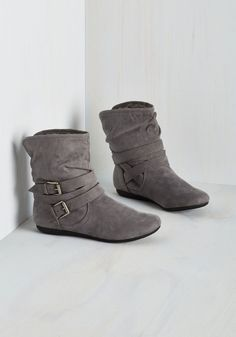 Bramble On Bootie in Fog. On your first morning in the countryside, suit up in these grey booties and relish a mellow meander. #grey #modcloth