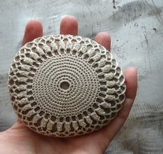 Crocheted Lace Stone Handmade Original Ivory Unique by Monicaj