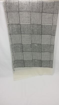 Sudarshan Textile Arts: Wool 'Classic' Scarf in 'White with Black Square Blocking' (Handmade) (Fair Trade)