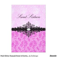 Pink Glitter Damask Sweet 16 Invitation Matching products in the GoDesign store! #invitations #birthdayparty  #sweetsixteen