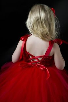 Flower Girl Tutu Dress in Red Roses