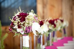 Bridal bouquets with purple dahlias by Statice Floral, Karen High Photography
