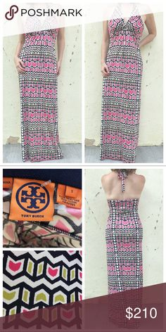 TORY BURCH maxi DRESS halter SILK print LONG gown Gorgeous goddess dress! By high-end ready-to-wear designer TORY BURCH, this geo print luxurious silk stretch gown is glamorous and flattering. HALTER straps, and built in Bra top. EXTRA LONG! perfect for TALL beauties alike. Marked as a small, this fits a medium. Make your mark in this amazing frock! (710) Tory Burch Dresses Maxi