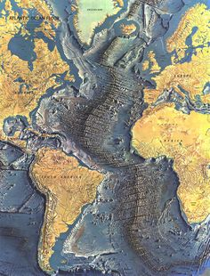 Beautiful Topography Map of the Atlantic Sea Floor. The Mid-Atlantic Ridge.