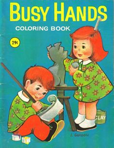 Vintage Coloring Book Busy Hands