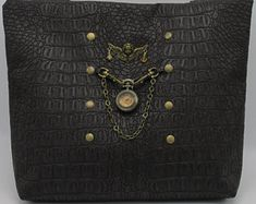 Steampunk Victorian Shoulder Bag with Clock and Cherub in Faux Crocodile Leather -- Victorian Baroness Steampunk Fashion, Cherub, Leather Bags, Crocodile, Belly Button Rings, Etsy Seller, Clock, Victorian, Brooch