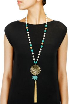 Turquoise beaded chain filigree pendant necklace available only at Pernia's Pop-Up Shop.