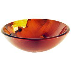 Asiatico Burnt Orange Floral Design Glass Vessel Sink Novatto Vessel Bathroom Sinks Bath