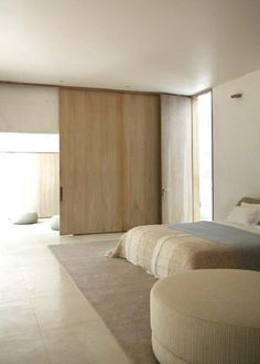 serene colors & Simple and clean. The sliding door is almost invisible inside the ...