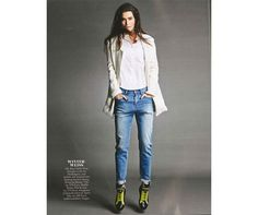 The July Issue of BRIGITTE Germany interprets the androgynous style with #HOGANREBEL R182 High-top #sneakers.