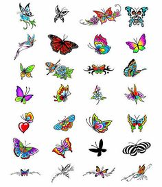 Lots of butterfly tattoo ideas, don't like all of them but some are very pretty. I like the bright colored ones