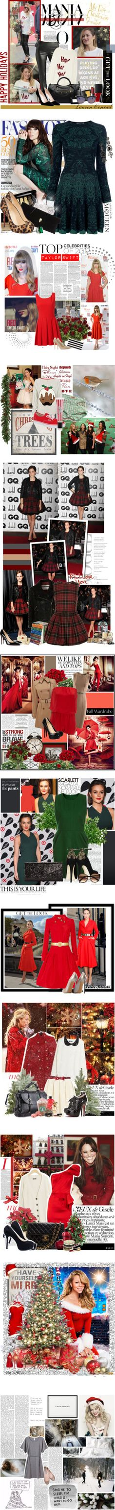 """""""Festive Fashion: 12 Celebs Decked Out in Red and Green"""" by polyvore-editorial ❤ liked on Polyvore"""