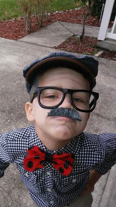 day of school/old man costume for kids. Mustache, glasses and painted golf stick from dollar tree. White face paint on hair and face with some lines for wrinkles. Kids Old Man Costume, Kids Costumes Boys, Cute Costumes, Costume Ideas, 100 Days Of School, School Boy, School Stuff, Halloween 2018, Fall Halloween