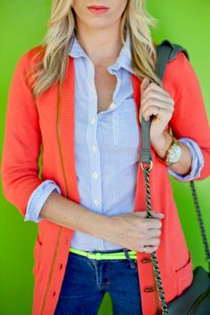 color contrast for a bright color spring outfit