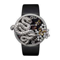 Les Indomptables de Cartier bracelet watch and brooch - Quartz, white gold, yellow diamonds, garnets, enamel - Fine Watches for women - Cartier