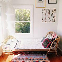 rattan bed . basketwork . bohemian bedroom