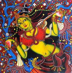 This is an original acrylic painting of Mirabai's devotional dance in Mural form.Mirabai is considered as an hindu mystic poet of the Bhakti movement. Kerala Mural Painting, India Painting, Mosaic Wall Art, Wood Wall Art, Dance Paintings, Digital Paintings, Mural Art, Murals, India Art